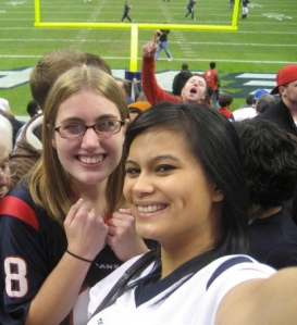 My best friend, Michelle, and I celebrating the Texans' first winning season