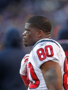 Andre Johnson watches the final minutes of the fourth quarter in the Jan. 15 game vs. Baltimore (Houston Chronicle)